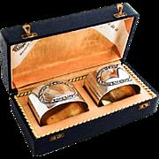 Edwardian Oval Napkin Rings Pair Gilt Interior German 800 Silver 1920 Boxed