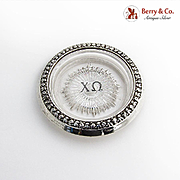 Chi Omega Fraternity Pressed Glass Coaster Floral Rim International Sterling Silver