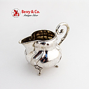 Baroque Creamer Figural Feet Scroll Handle German 800 Silver 1920