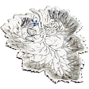 Leaf Form Repousse Strawberry Bowl Ball Feet Sterling Silver