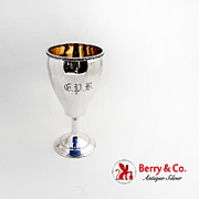 Antique Goblet Greek Key Rim Gilt Interior Vanderslice Co Coin Silver Mono