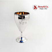 Greek Key Rim Goblet Gilt Interior Vanderslice Co Coin Silver 1865 Monogram