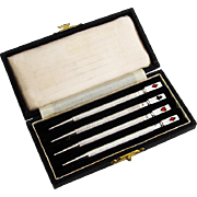 English Bridge Canasta Pencils Boxed Set Enamel Card Suits Sterling Silver