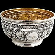 Victorian Repousse Ornate Bowl Gilt Interior Elkington Co Sterling Silver 1888 Birmingham
