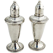 Vintage Salt Pepper Shakers Pair Glass Interior Gadroon Rims Duchin Sterling Silver