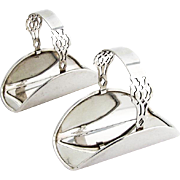 Chippendale Napkin Rings Holders Pair Lunt Sterling Silver 1910