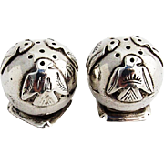Native American Thunderbird Ball Form Salt Pepper Shakers Pair Sterling Silver