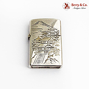 Japanese Bright Cut Engraved Lighter 950 Sterling Silver 1950