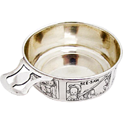 Engraved Nursery Rhyme Baby Bowl Porringer Cut Work Handle Sterling Silver 1930