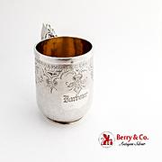 Engraved Matte Finish Childs Cup Mug Gilt Interior Schulz Fischer Coin Silver 1875