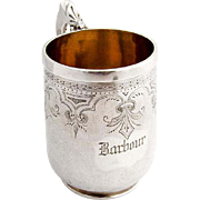 Engraved Matte Finish Childs Cup Mug Gilt Interior Schulz Fischer Coin Silver 1875