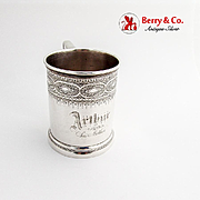Engraved  Childs Cup Mug Rectangular Handle Vanderslice Co Coin Silver