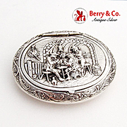 Happy Village People Snuff Pill Box Gerardus Schoorl Dutch 833 Silver 1900