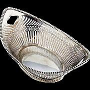 Dutch Cut Work Heart Beaded Basket 1922 833 Standard Silver