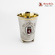 Swedish Beaker Stag Crowned Red Enamel Crest 1907 830 Standard Silver