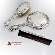 Dresden Rose Dresser Set Mirror Comb Brush w/case Gorham Sterling Silver No Monograms
