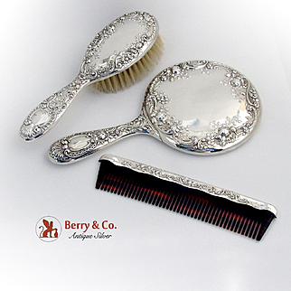Dresden Rose Dresser Set Mirror Comb Brush w/case Gorham Sterling Silver No Monograms