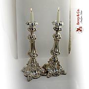 Baroque Candlesticks 1800 Northern European 11 Loth Silver