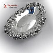 Poppy Bread Tray Redlich Sterling Silver 1900 Applied Decorations Open Work