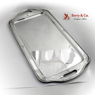Art Deco Cocktail Tray 1929  Reed Barton Engraved Open Handles Sterling Silver