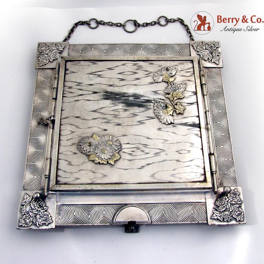Aesthetic Triple Dresser Table Mirror Applied Flowers Derby Silverplate Pat 1888