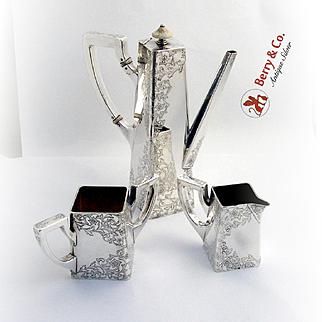 Arts and Crafts After Dinner Coffee Set Shreve Engraved Floral Vine Sterling Silver 1895-1915