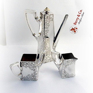 Arts and Crafts After Dinner Coffee Set Shreve Engraved Floral Vine Sterling Silver 1895-1915