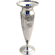 Flower Vase Engraved Floral 1910 Sterling Silver JW Monogram