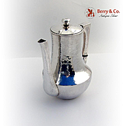 Arts Crafts Coffee Pot Hammered Hand Made Zodiac Sterling Silver 1920 -1940