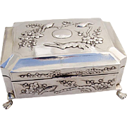 Antique Japanese Sterling Silver Humidor Box Bird and Cherry Blossom Designs c.1900
