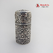 Repousse Round Hinged Box Sterling Silver Gorham 1890