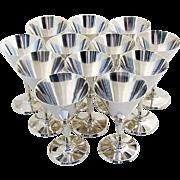 Vintage Set of 12 Cocktail Glasses Sterling Silver c.1930