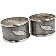 Coin Silver Pair of Napkin Rings Engine Turned Designs 1890