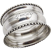 Antique Napkin Ring Beaded Border Sterling Silver Webster 1910