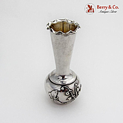 Aesthetic Bud Vase Floral Butterfly 800 Silver Germany 1900