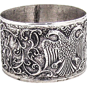 Antique Ornate Napkin Ring Double Eagle Design 800 Silver 1900 Mono B