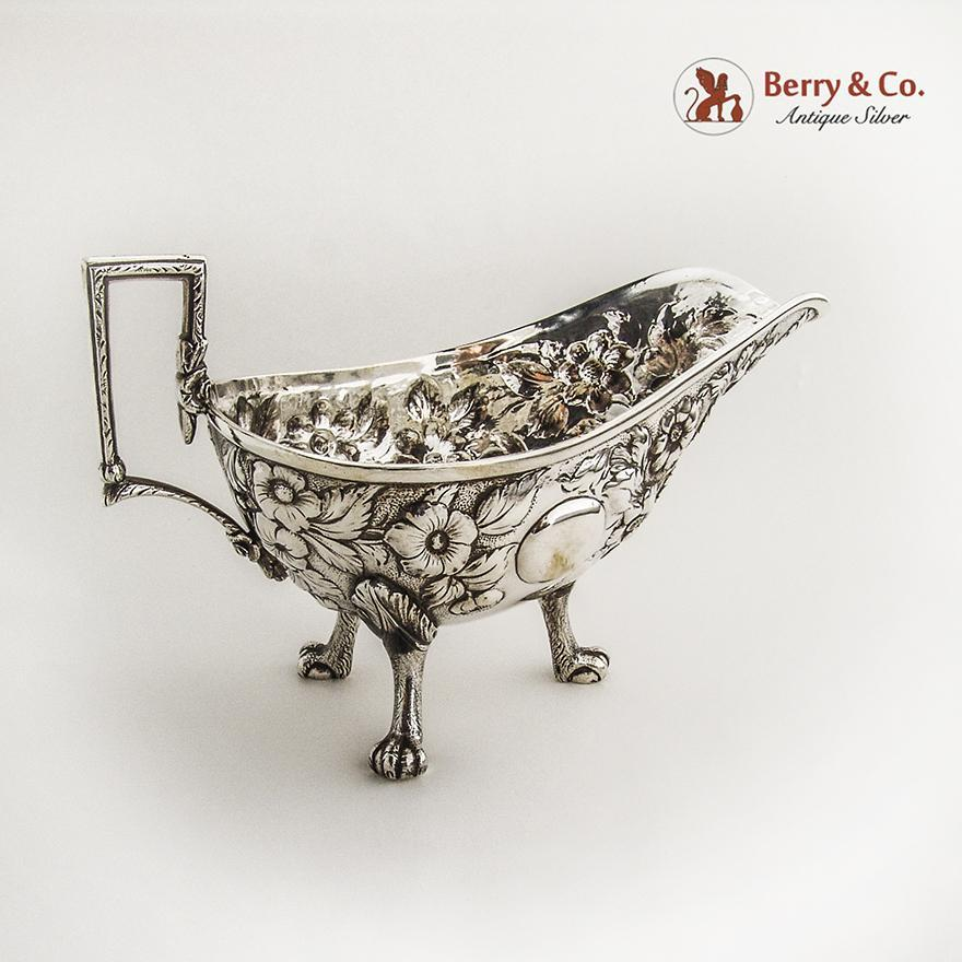 Repousse Large Gravy Boat with Eagle Feet Kirk and Son 11 oz Coin Silver
