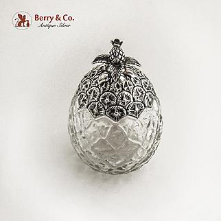 Pineapple Form Jar Sterling Silver Glass Durgin 1900