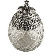 Pineapple Form Jar Sterling Silver Glass Durgin 1900