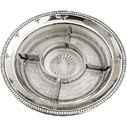 Sectional Dish Sterling Silver Rim Glass Base Watson 1920