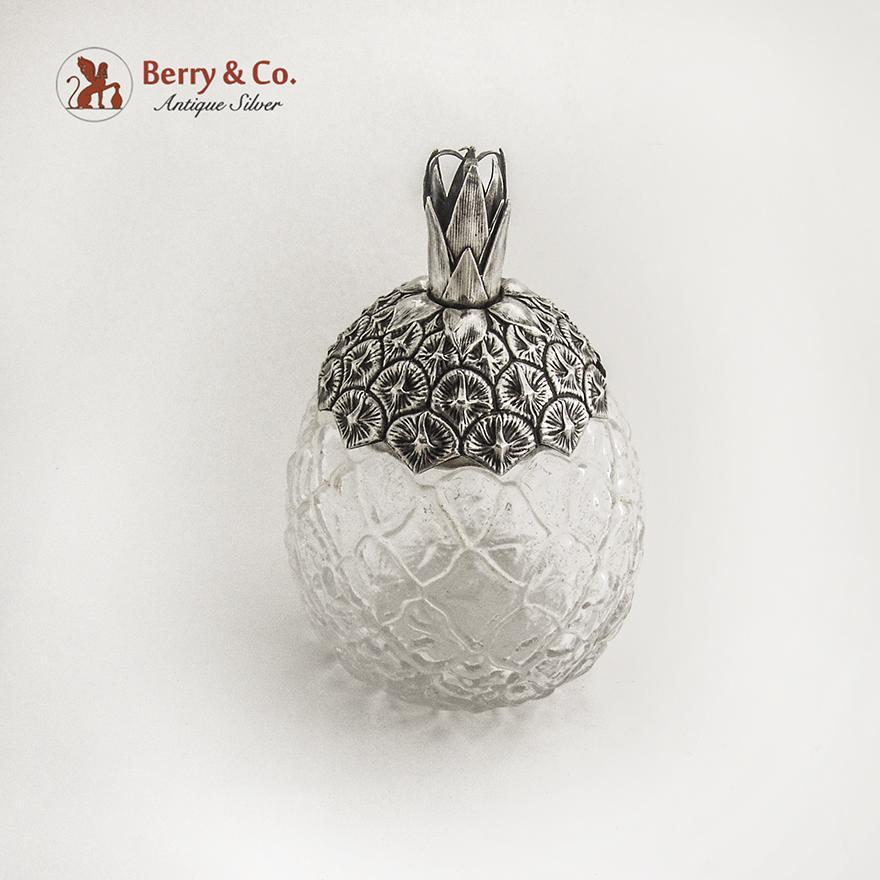 Pineapple Form Jar Sterling Silver Glass 1900