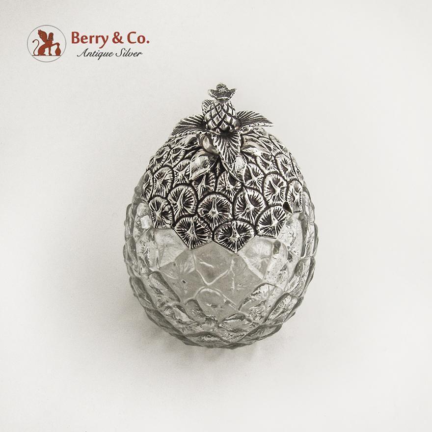 Pineapple Form Jar Sterling Silver Glass Gorham Silversmiths 1900