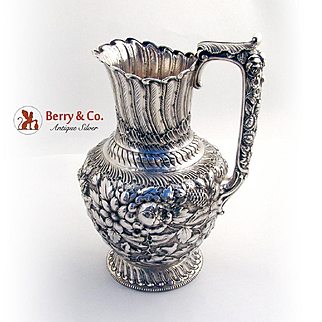 Repousse Water Pitcher Sterling Silver Gorham Silversmiths 1892