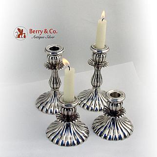 Set of 4 Candlesticks Fluted Design Sterling Silver Peru