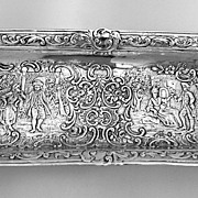 German 800 Standard Silver Repousse Rectangular Pen Tray 1920