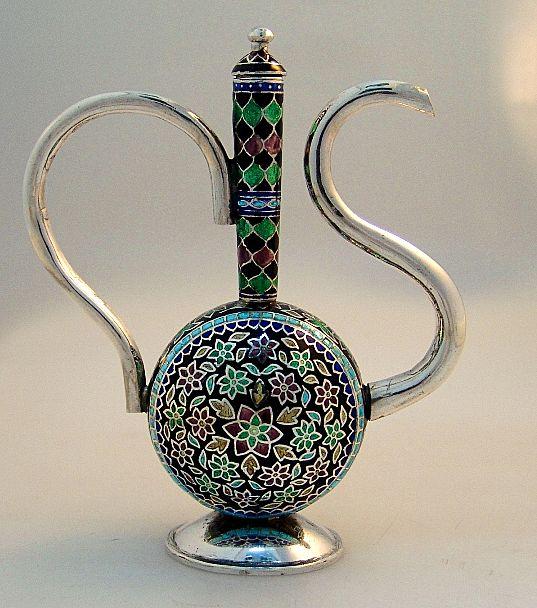 Miniature Sterling Silver Enamel Turkish Coffee Pot 1960