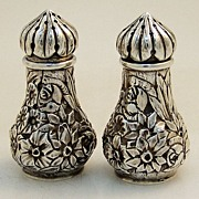 Repousse Salt Pepper Shakers Ritter Sullivan Baltimore 1880 Sterling Silver