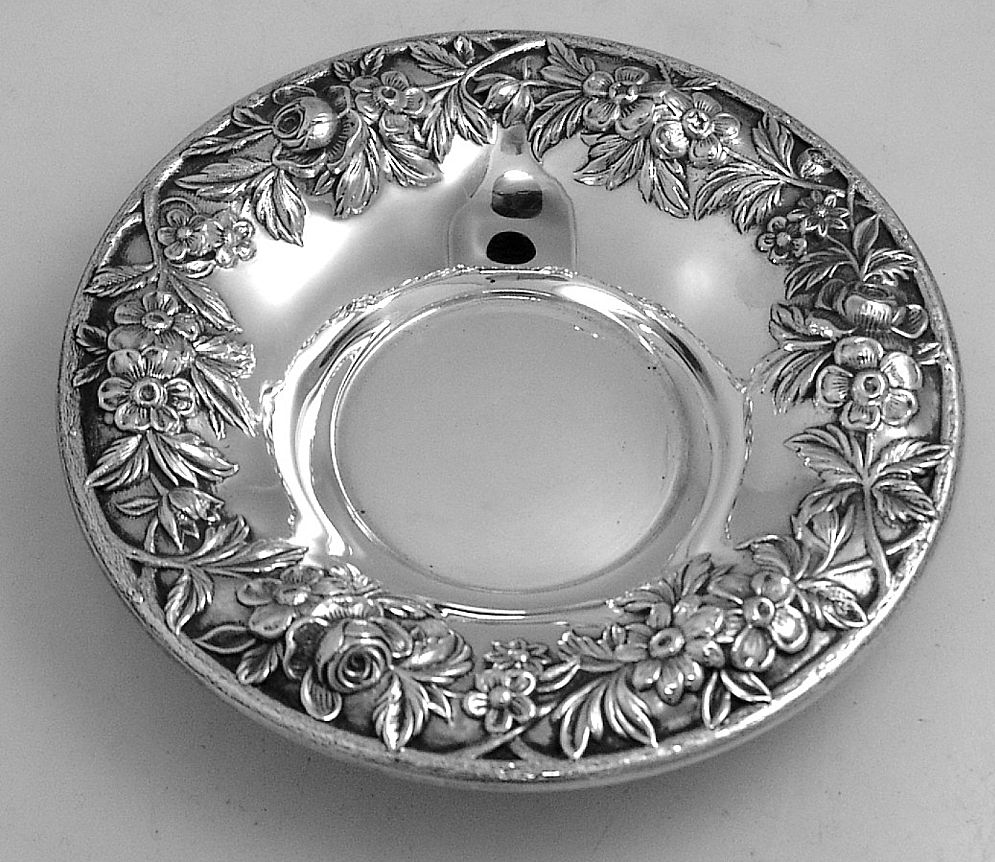 Repousse Candy Dish Kirk 1940 Sterling Silver 13f Berry