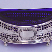 Cobalt Glass 800 Silver Open Salt German  1900