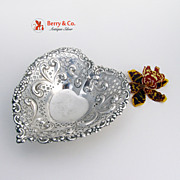 Heart Candy Dish Floral Scroll Repousse Gorham Sterling Silver 1940